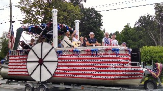 Singing on the Old Hallowell Day Parade Float